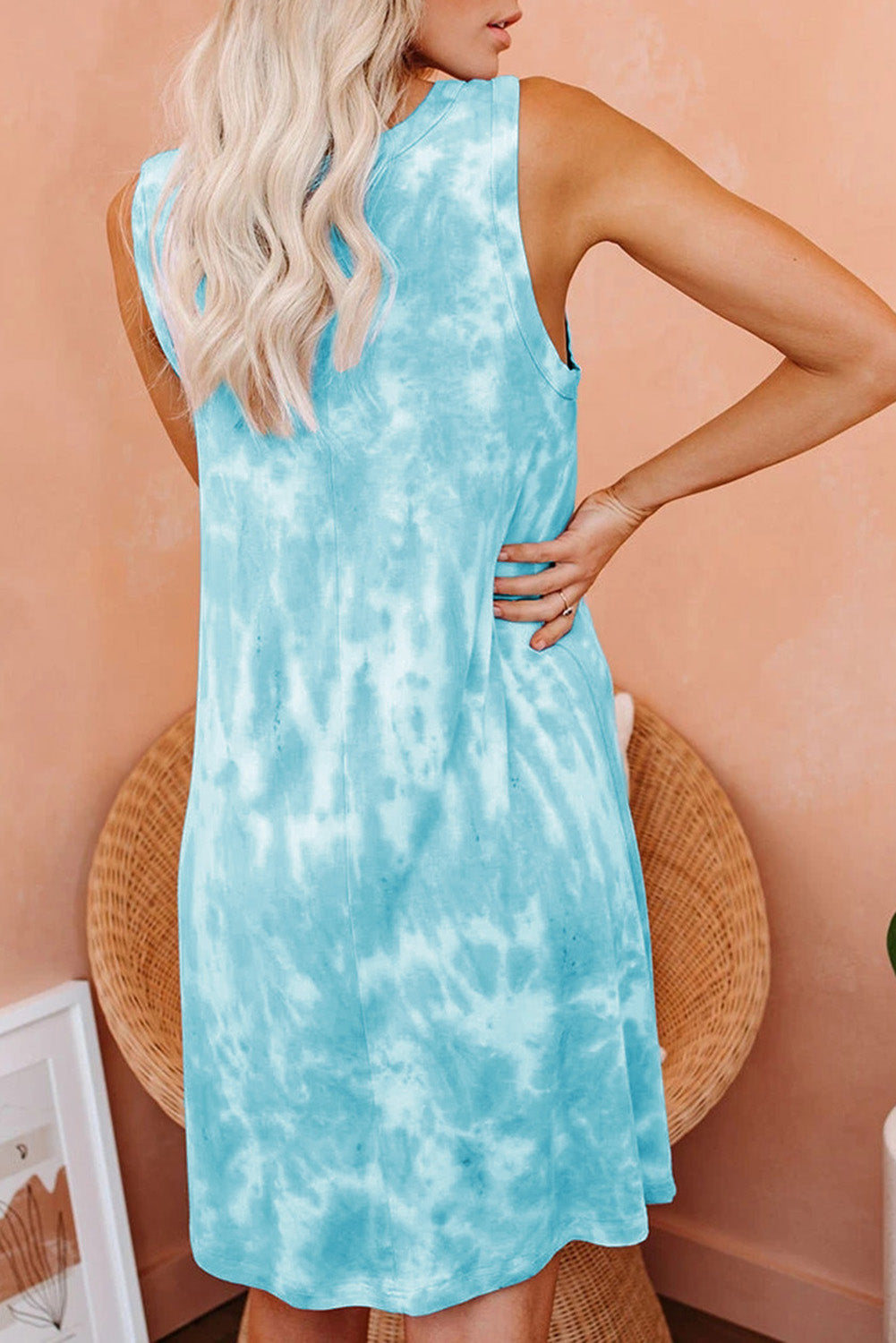 Green Tie Dye Knit Tank Dress