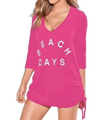 Rosy Ruched Tie Side V Neck Beach Cover Up