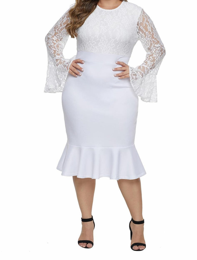 White Lace Bodice Bell Sleeve Ruffled Hem Plus Size Dress