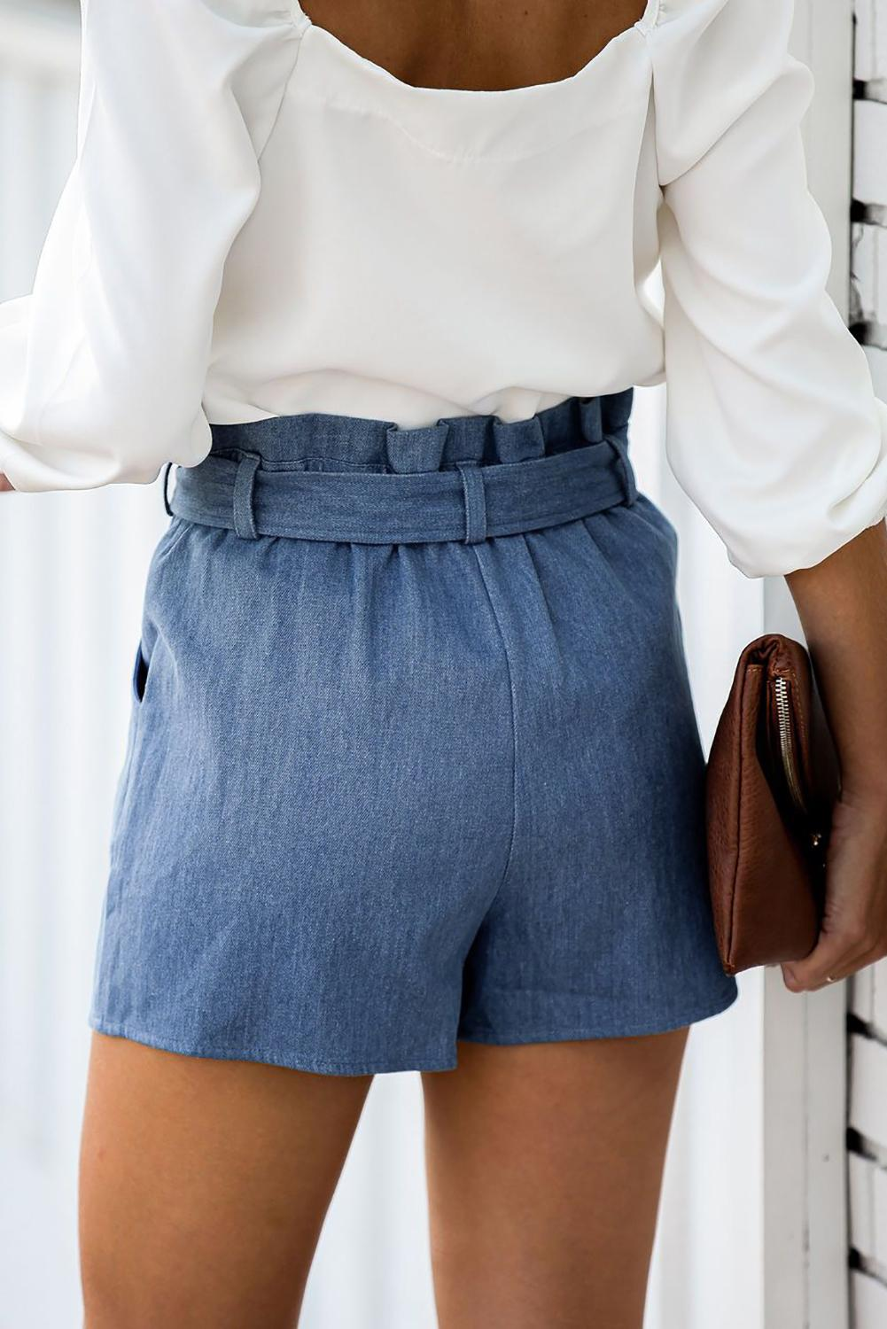 Sky Blue Pocketed Denim Wrap Skort