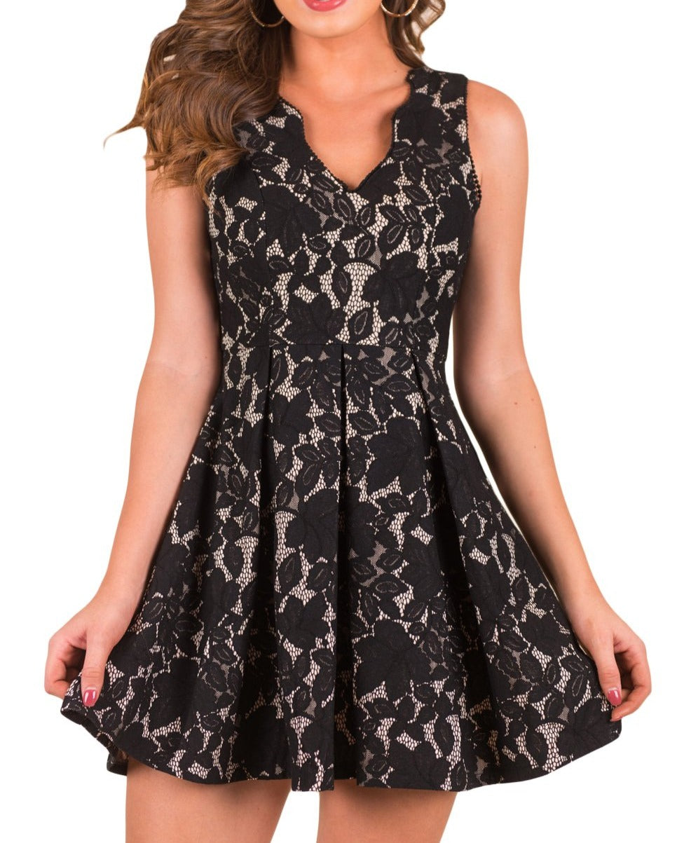 Black Scalloped Neckline Fit Flared Lace Dress