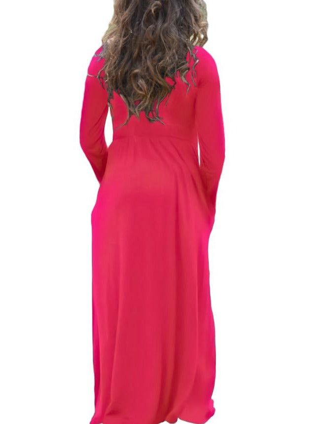 Rosy Long Sleeve Pocket Design Girls Maxi Dress