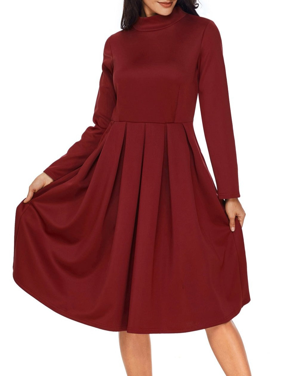 Burgundy Pocket Style High Neck Skater Dress