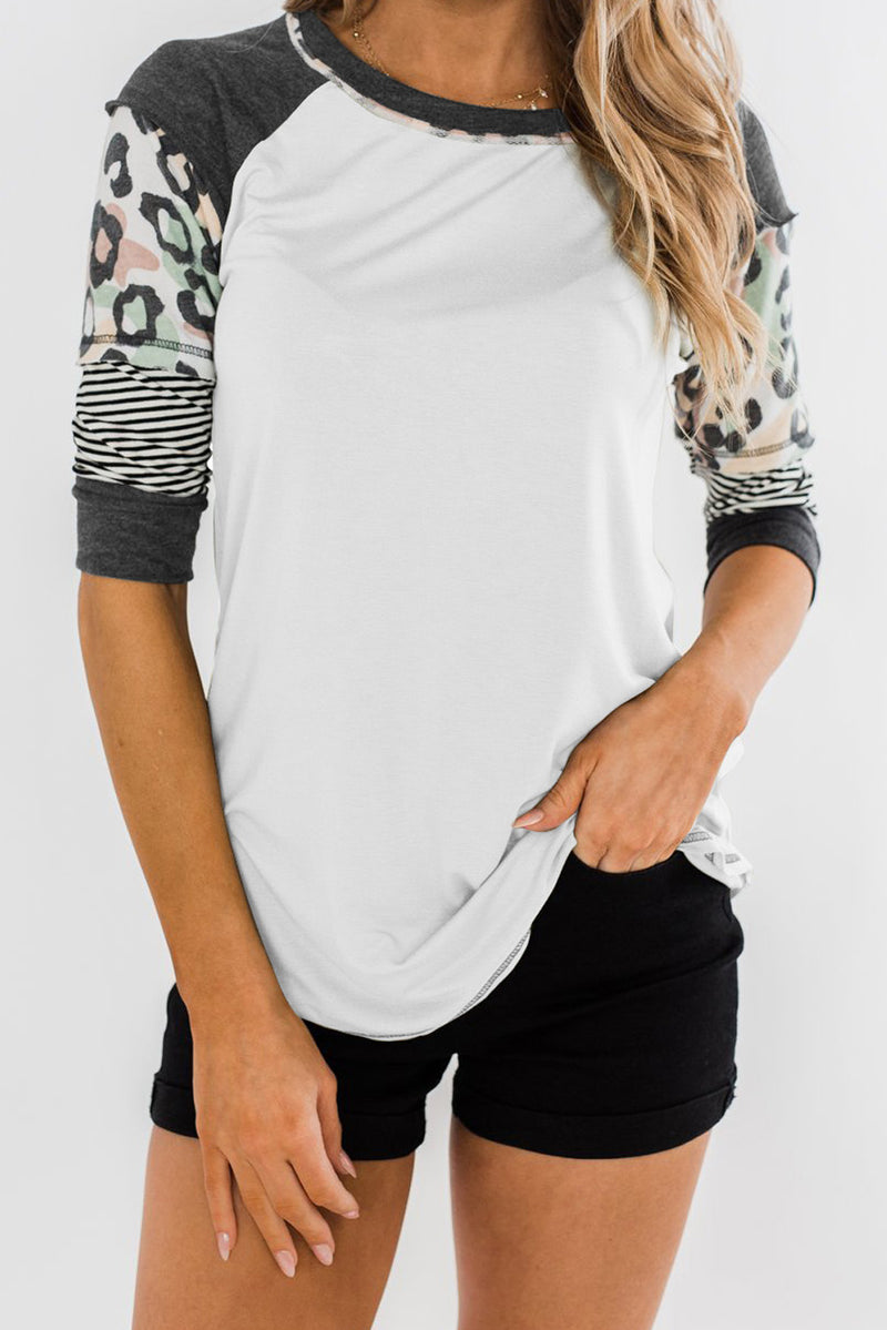 White Printed Raglan Sleeve Top