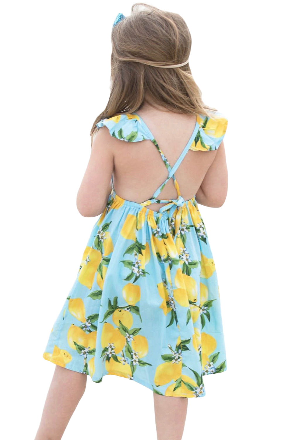 Aqua Blue Lemon Print Girls' Sundress