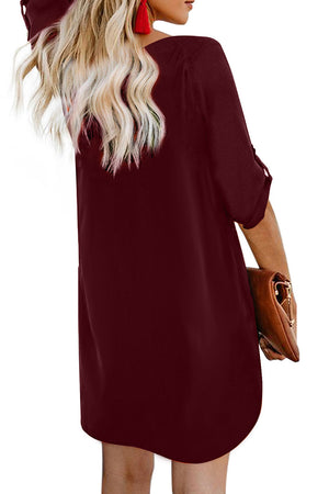 Wine V Neck Button Front Roll up Tab Sleeve Dress