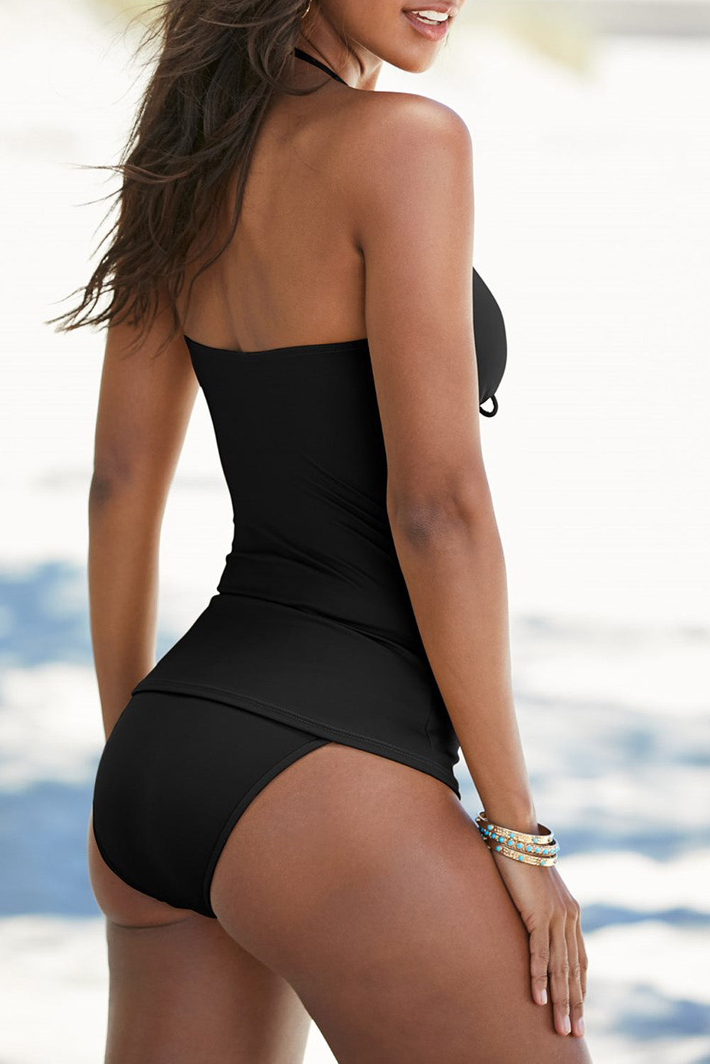 Black Halter V Neck Ruched Tankini Set