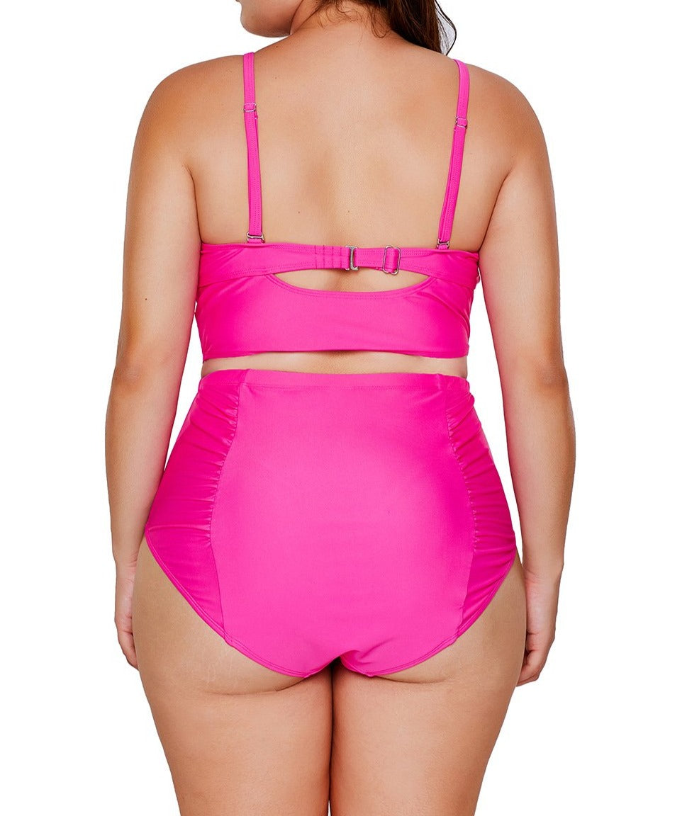 Rosy Strappy Neck Detail High Waist Swimsuit