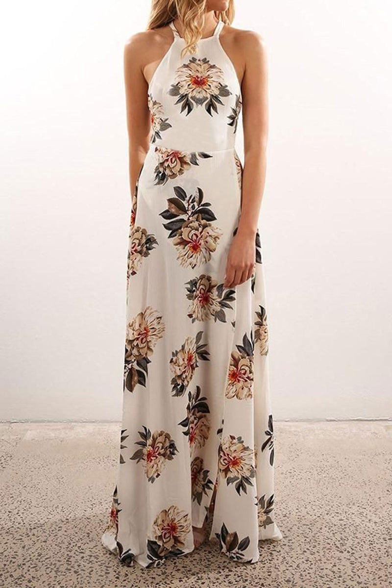 White Floral Halter Maxi Dress