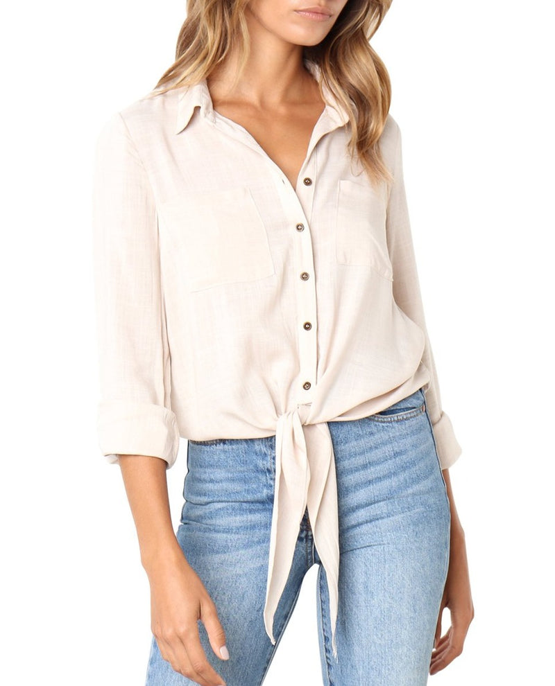 Apricot Crushed Linen Button-Down Casual Shirt