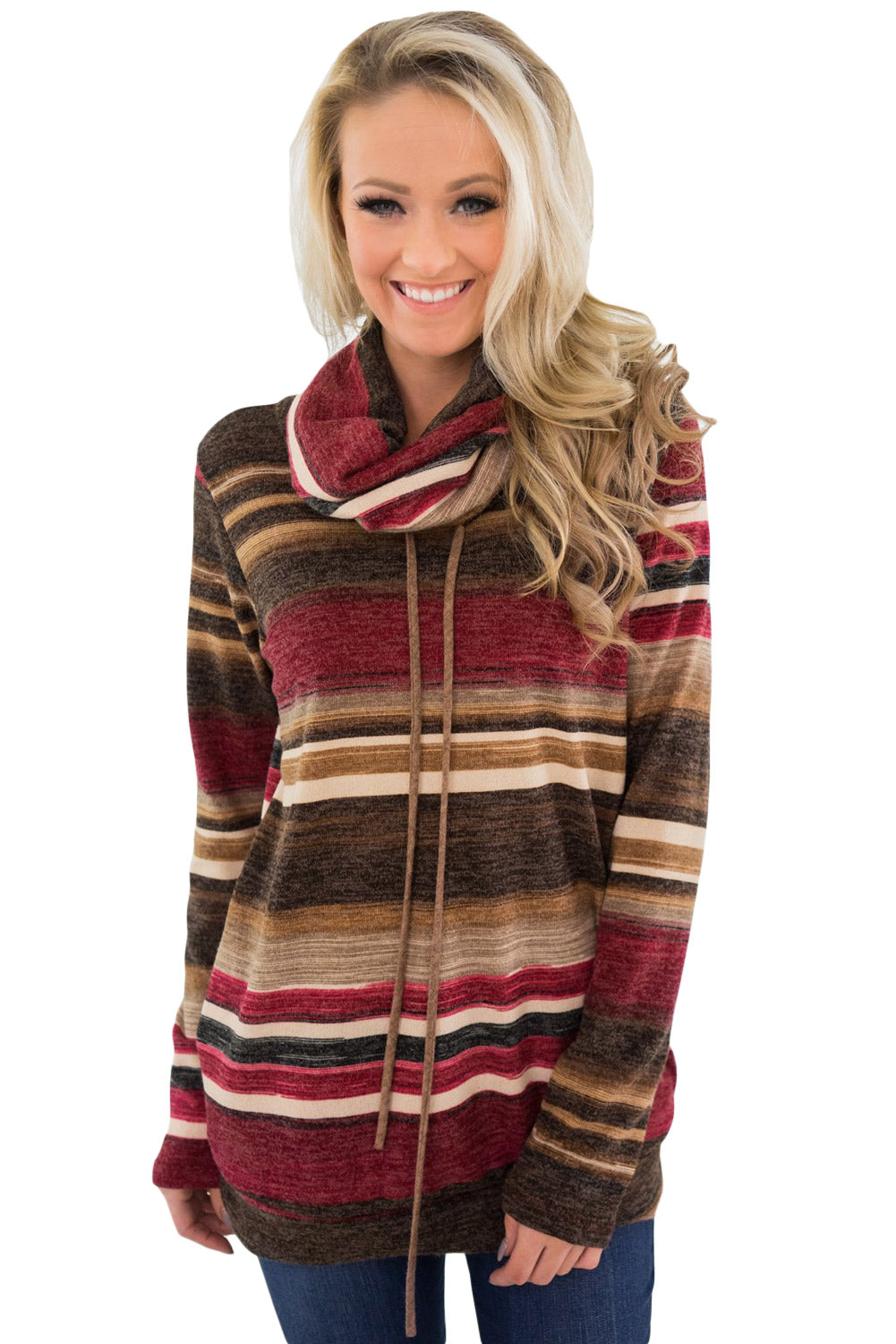 Red Multicolor Cowl Neck Striped Long Sleeve Sweatshirt