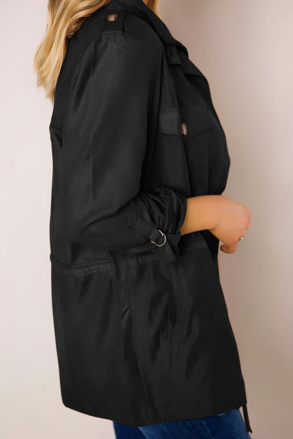 Black Bottoned Pockets Jacket