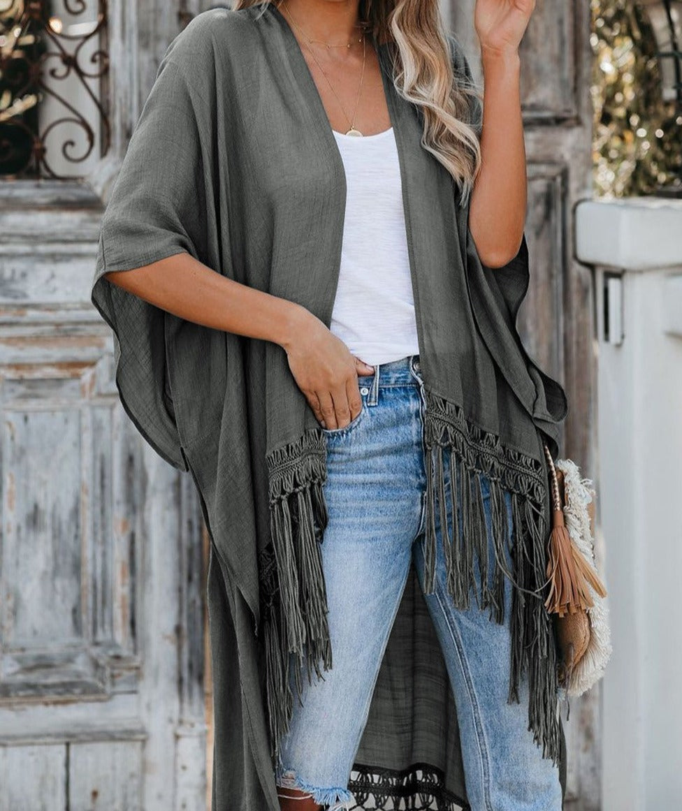 Gray Travel The World Tassel Kimono