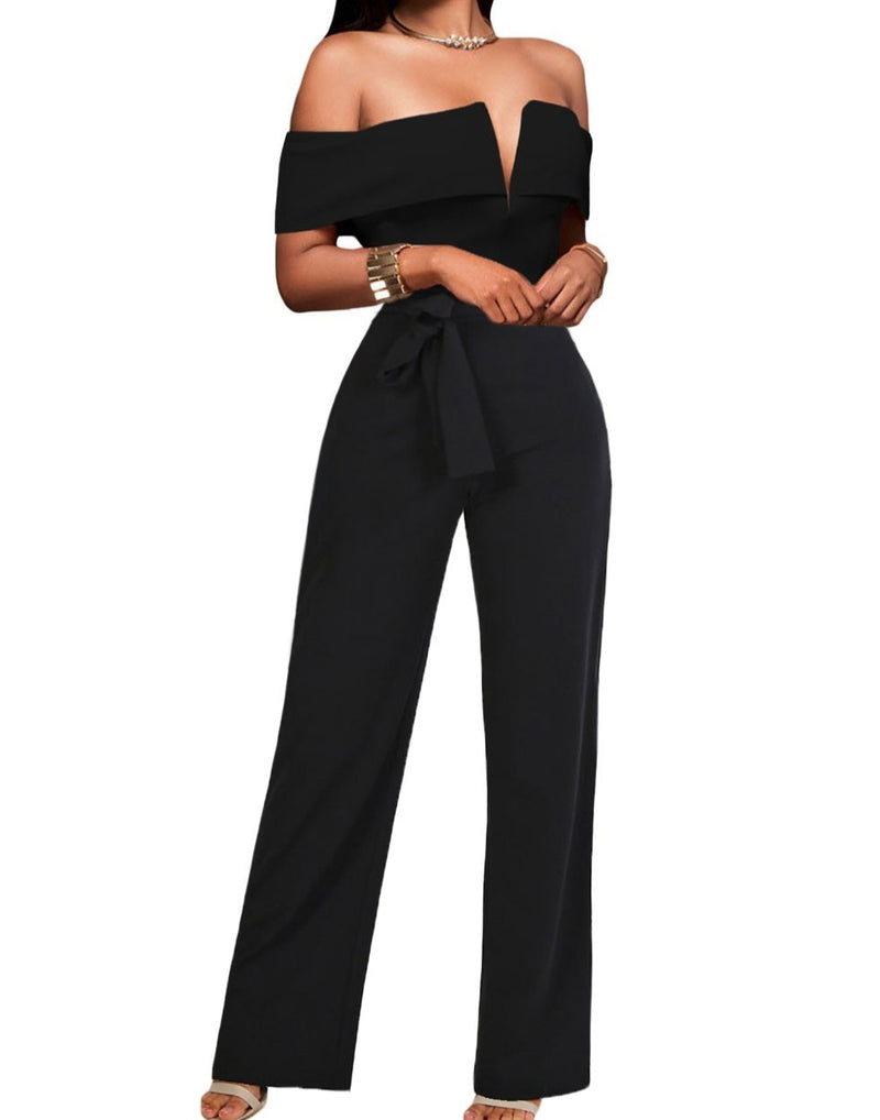 Off Shoulder V Cut Neck Wide Leg Jumpsuit