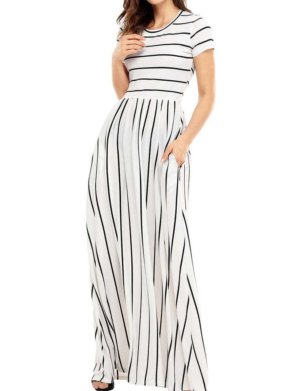 Black Striped White Short Sleeve Maxi Dress
