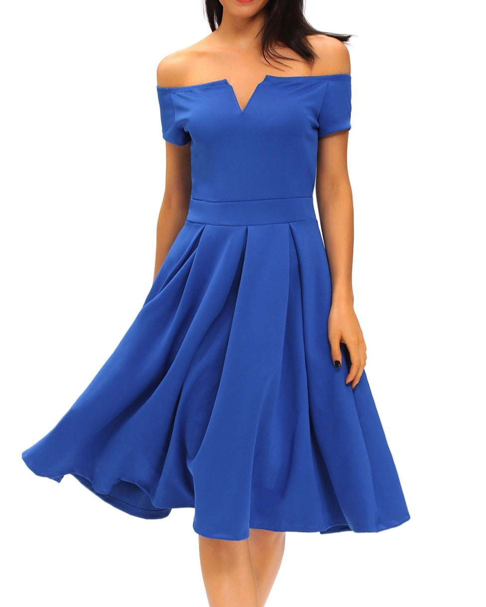 Solid Blue Thick Flare Midi Vintage Dress