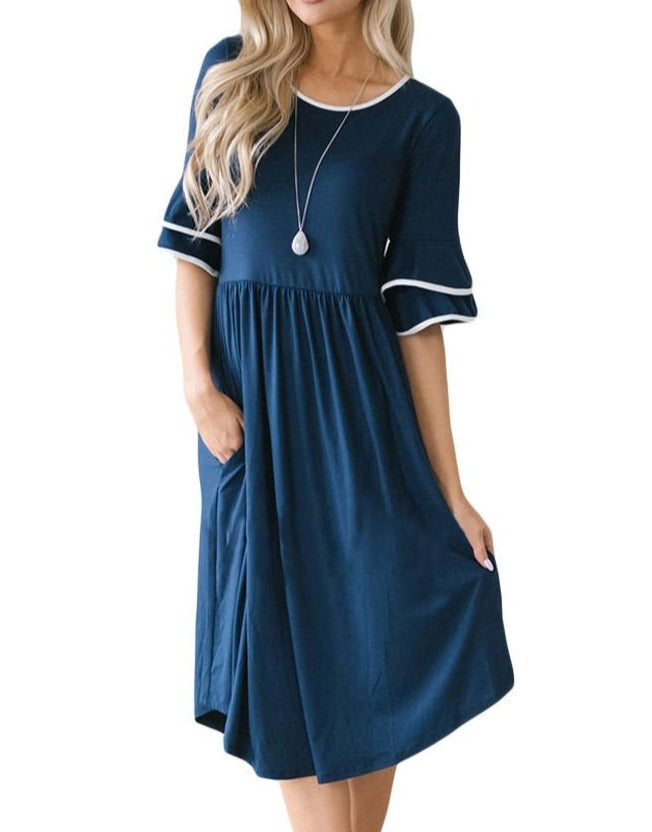 Slate Blue Layered Bell Sleeve Dress