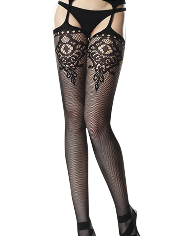 Floral Keyhole Stockings with Attached Garter Belt