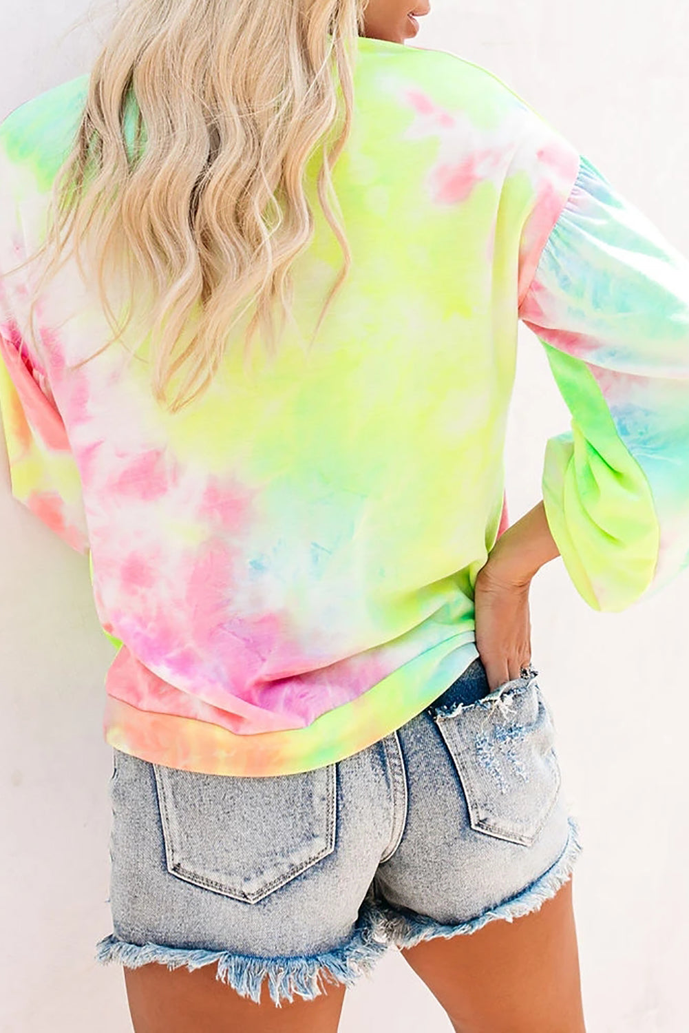 Multicolor Tie-dye Knit Sweatshirt