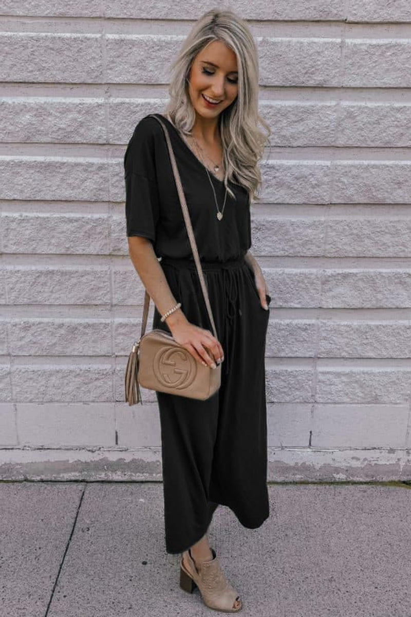 Black V Neck Pocket String-tied Jumpsuit