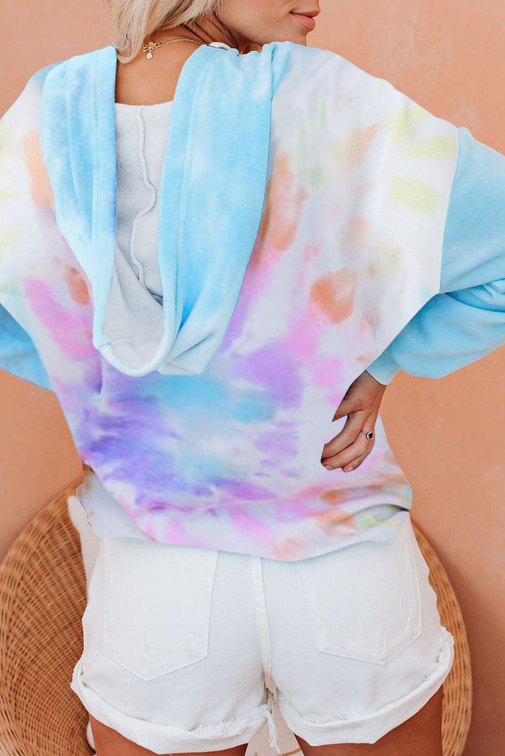 Sky Blue Colorblock The Sun Cotton Blend Tie Dye Hoodie