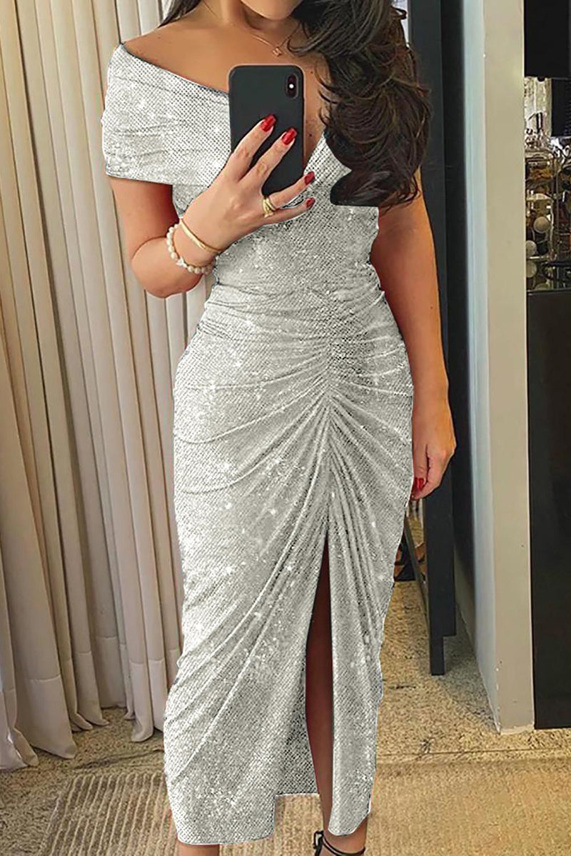 Gray Glitter Off Shoulder Ruched Slit Party Dress