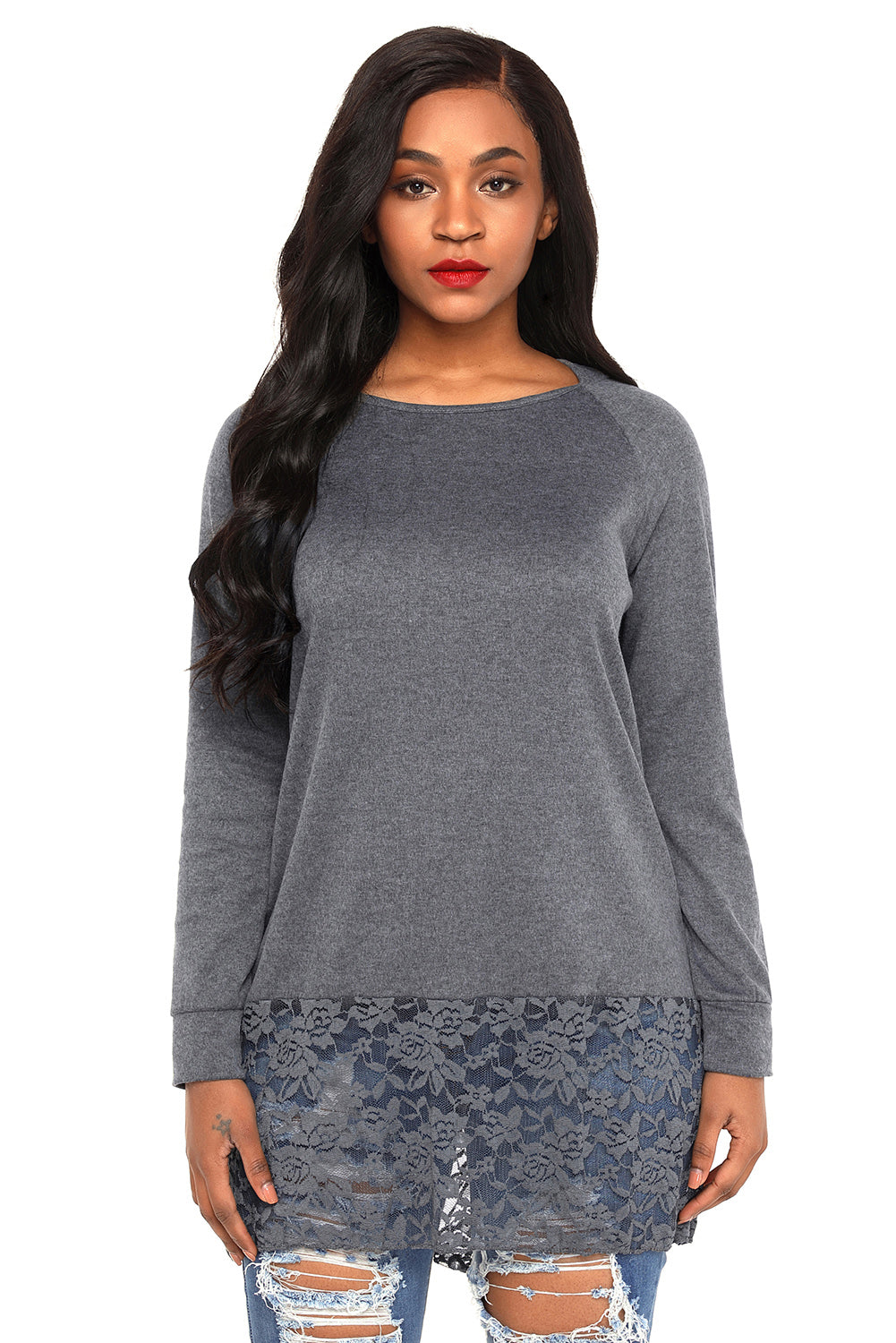 Grey Lace Trim Oversize Hoodie