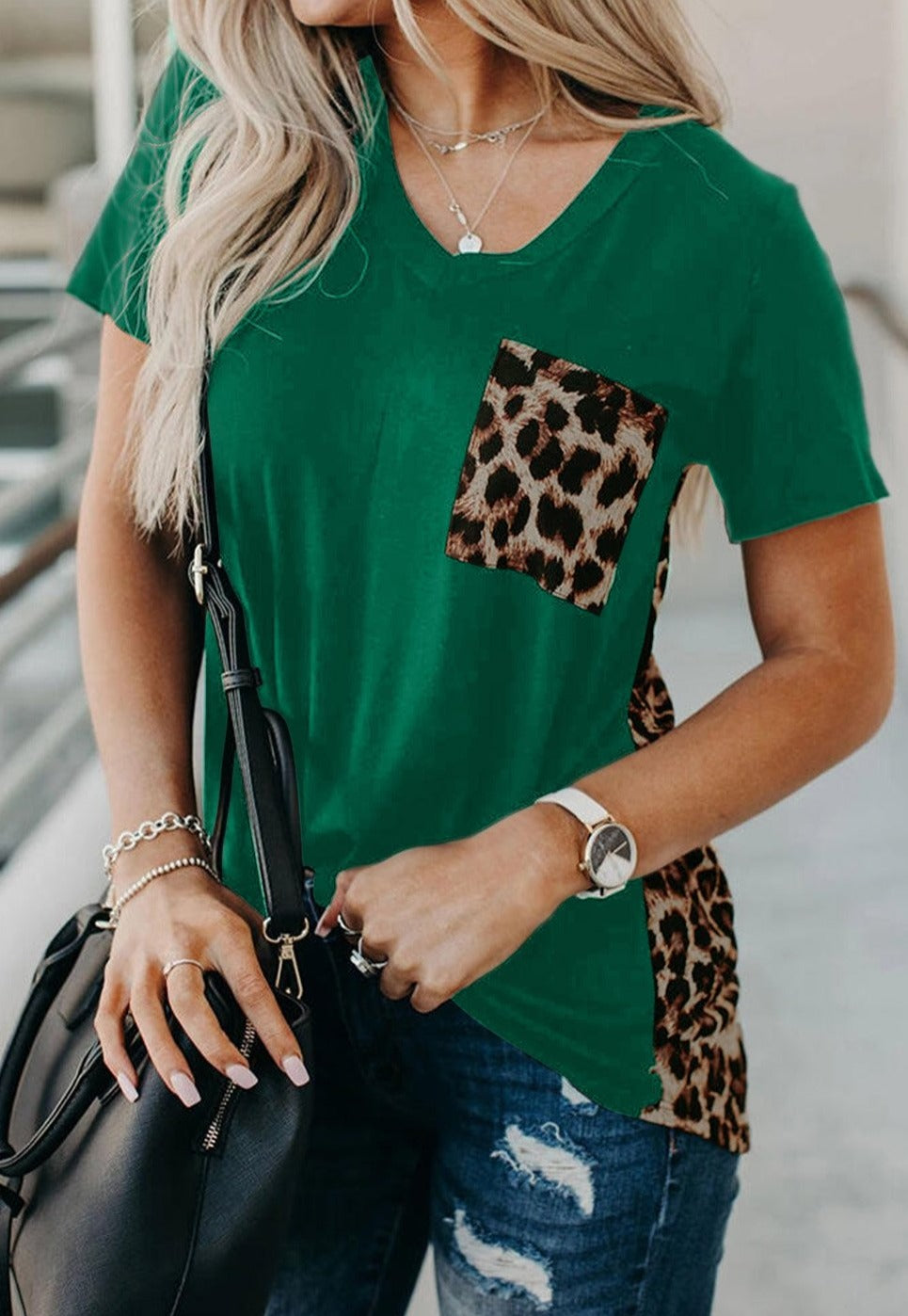 Green Leopard Printed Splicing T-Shirt