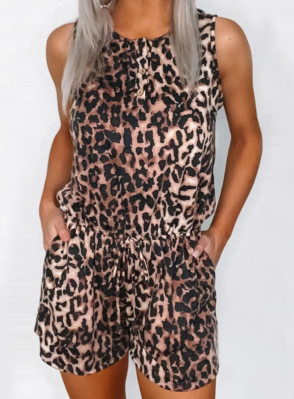 Leopard Romper with Pockets