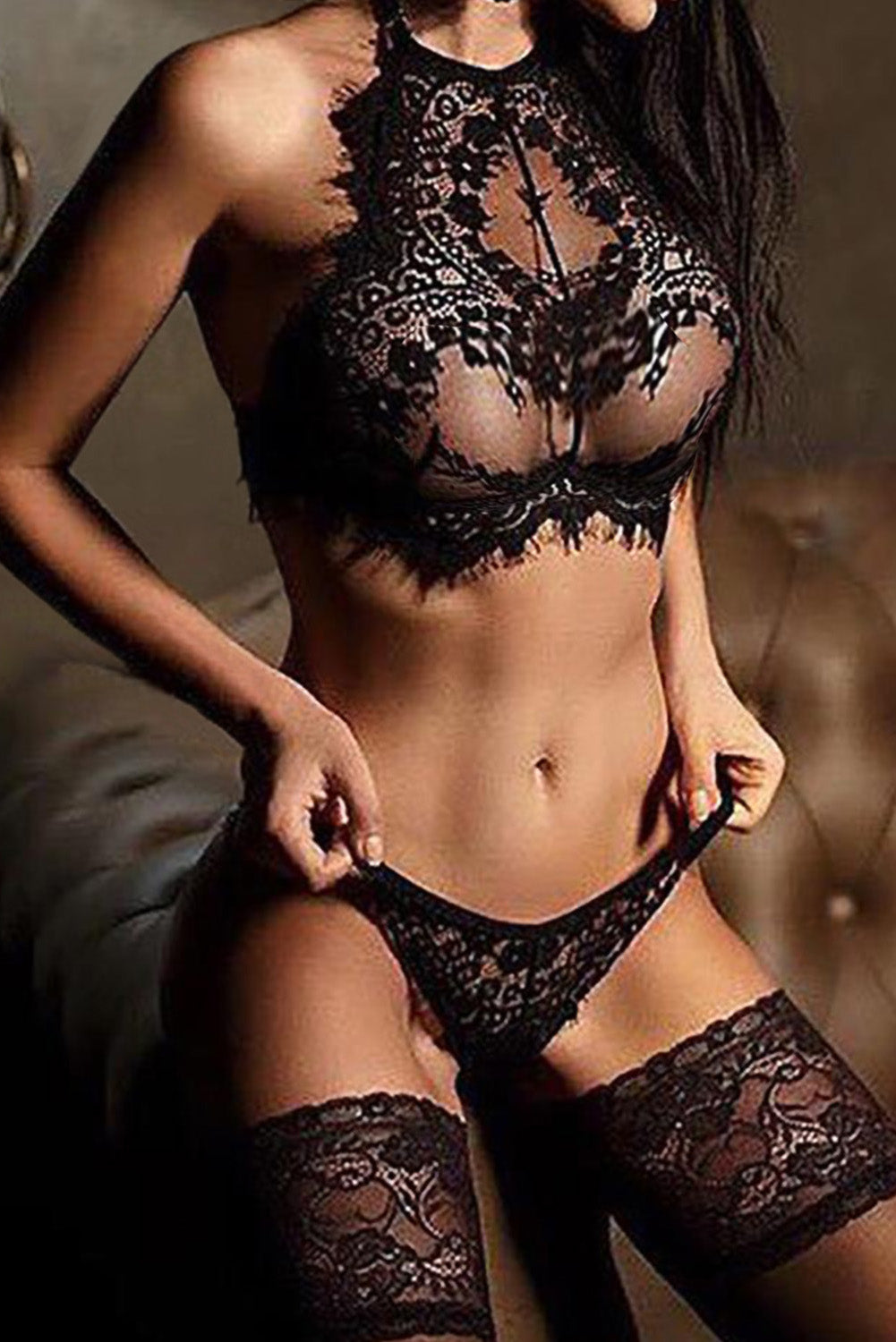 Alluring Black Eyelash Lace Trim Lingerie Set