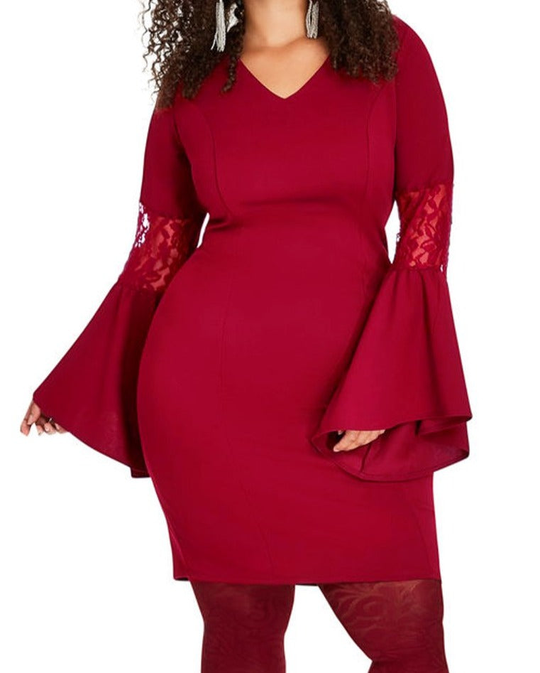 Purplish Red Lace Bell Sleeve Sheath Plus Size Dress