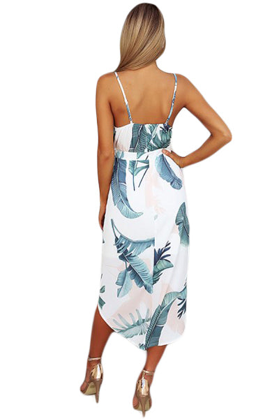 Deep V Neck Green Leaves Print Boho Dress in White