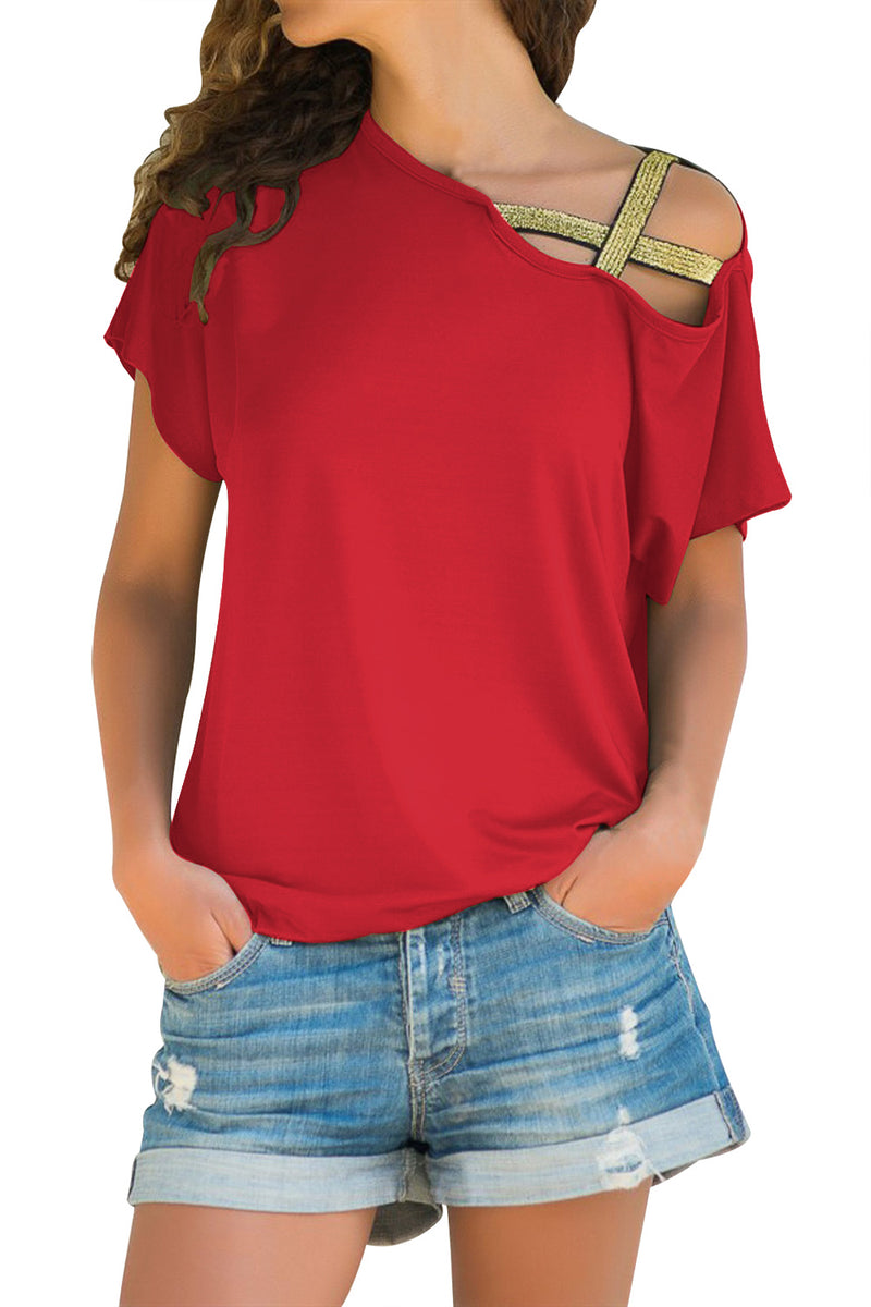 Glittery Cross Shoulder Detail Coral Short Sleeve Tee