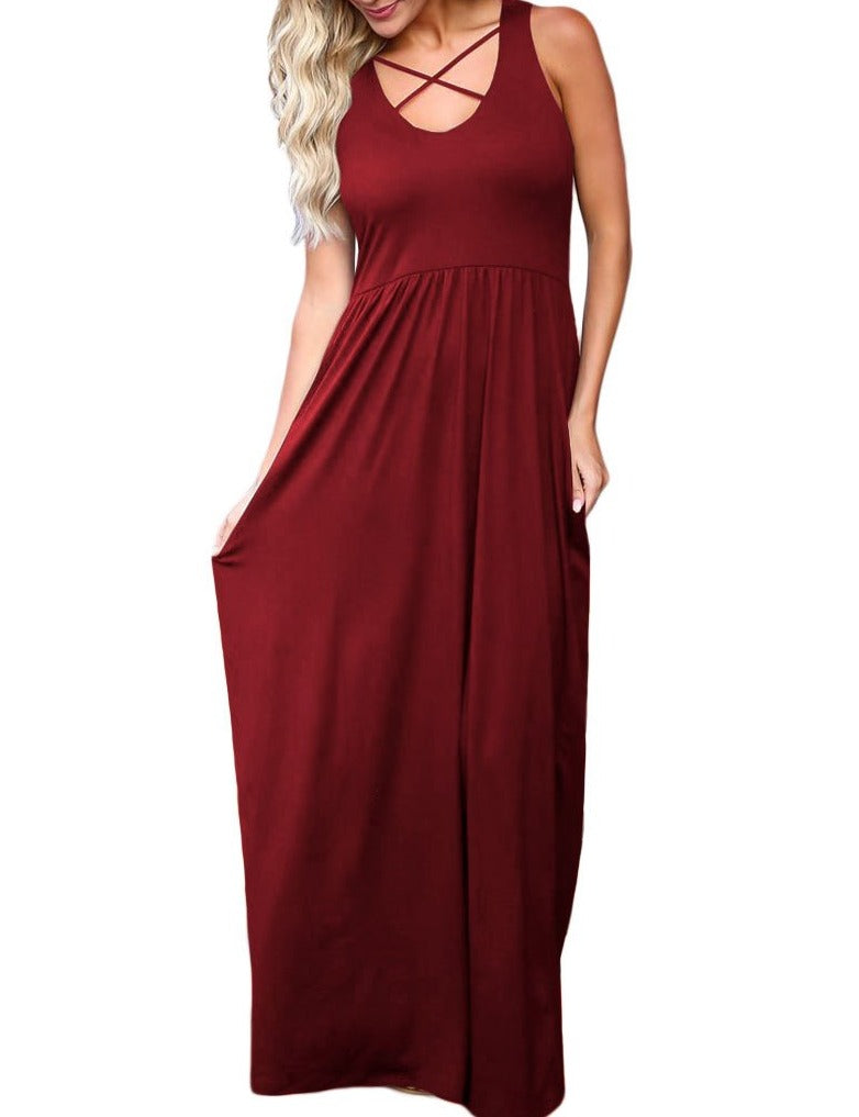 Red Crisscross Neck Detail Sleeveless Maxi Dress