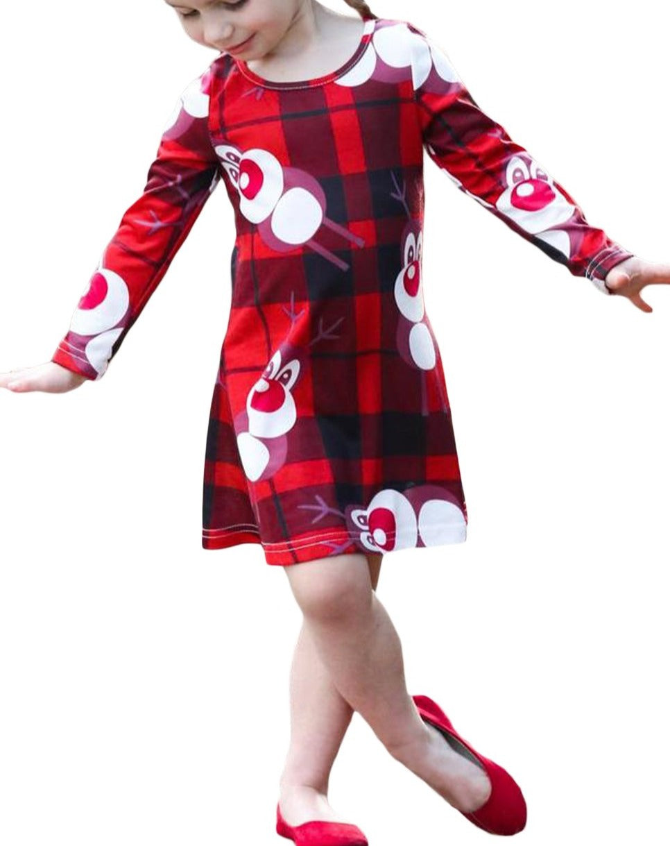 Cartoon Reindeer Plaid Printed Girls Christmas Dress