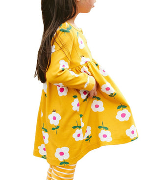 Little Flower Allover Yellow Flared Girl Dress