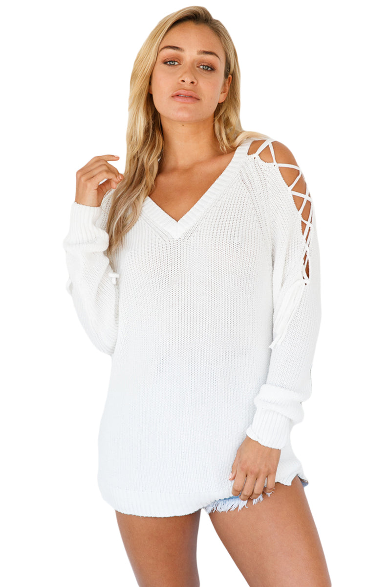 White Lace up Shoulder Loose Fit Sweater Top