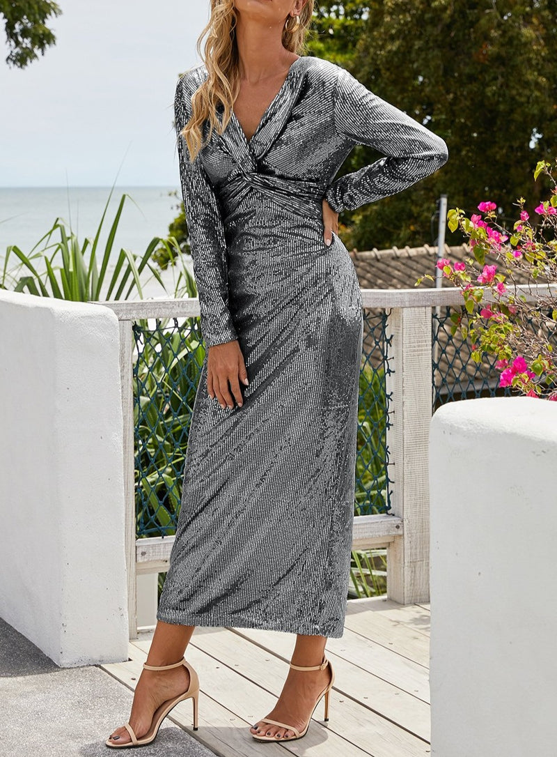 Silver Long Sleeve V Neck Twist Ruched Sequin Party Maxi Dress