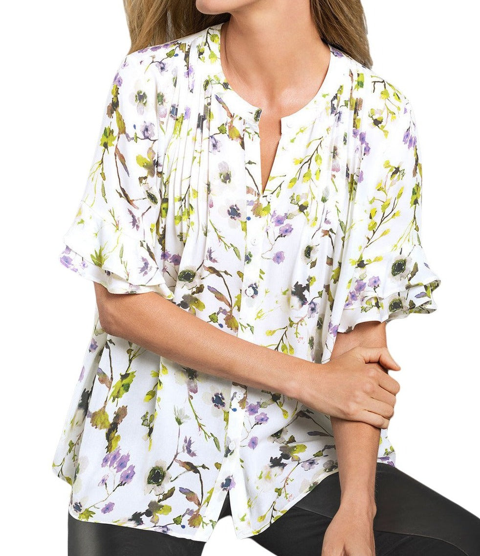 Draped Floral Blouse with Flounced Sleeves