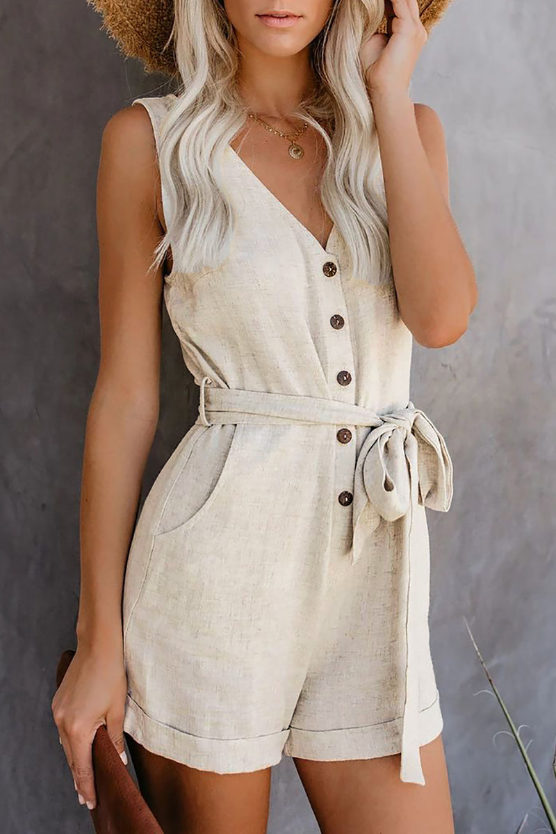 Beige Button V Neck Romper with Belt