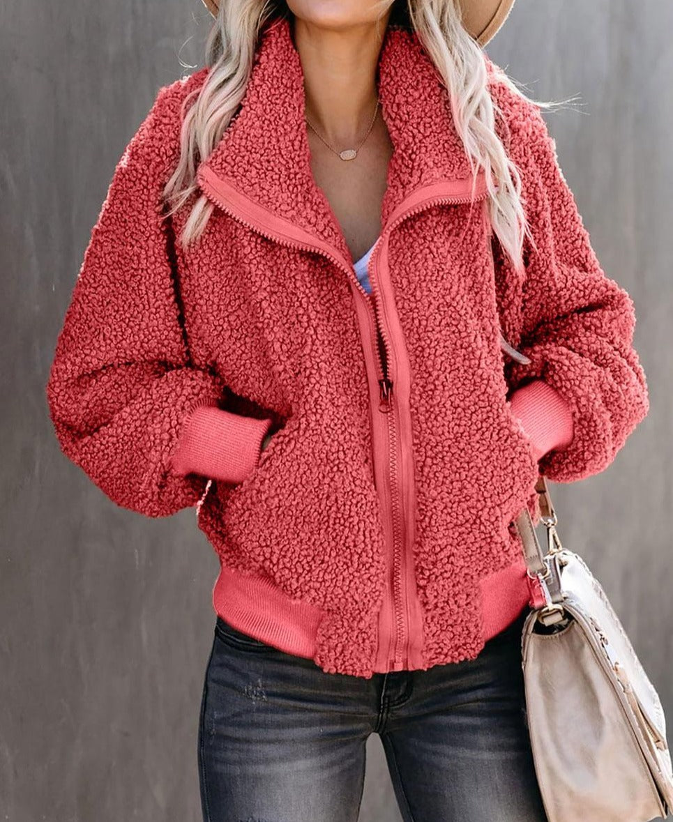 Red Cool For The Winter Pocketed Teddy Jacket