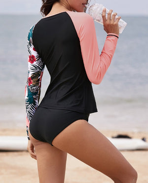 Asymmetric Raglan Sleeve Black Rashguard Top
