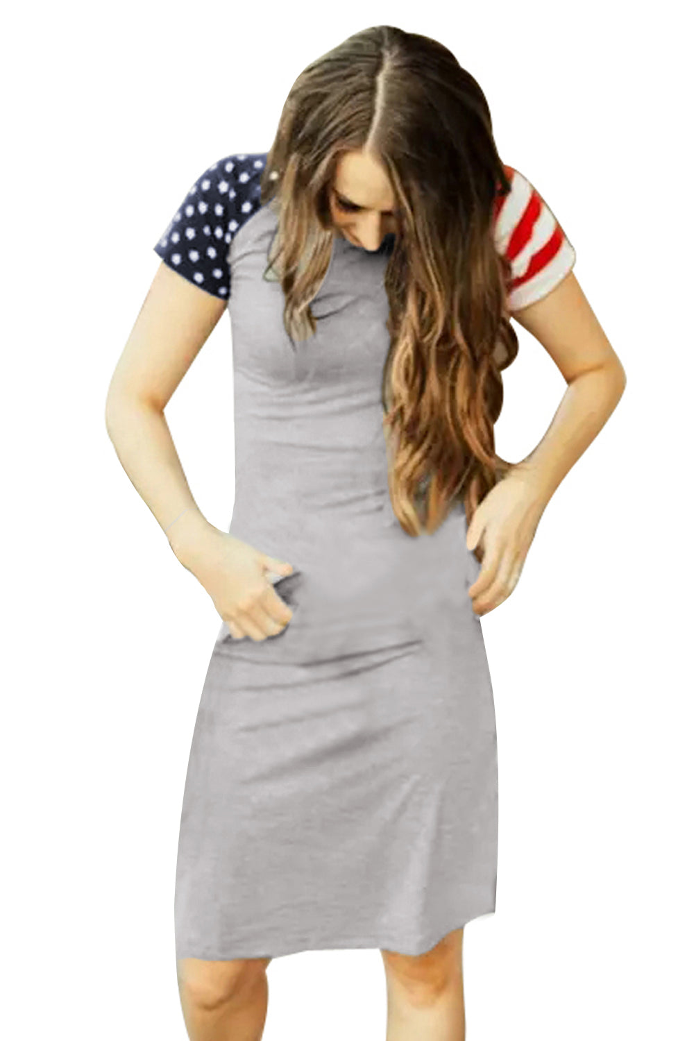 Gray Patriotic Tee Dress