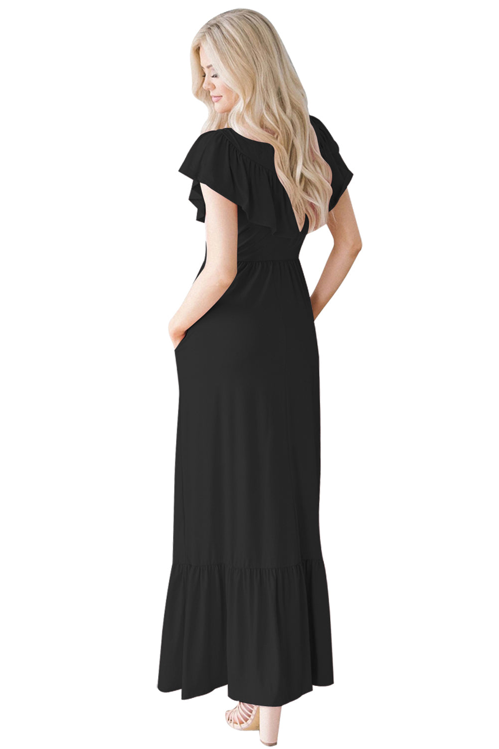Black Ruffle Detail Soft Jersey Maxi Dress