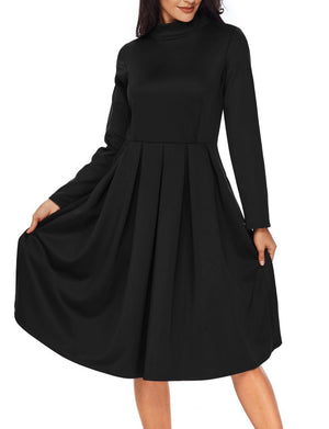 Black Pocket Style High Neck Skater Dress
