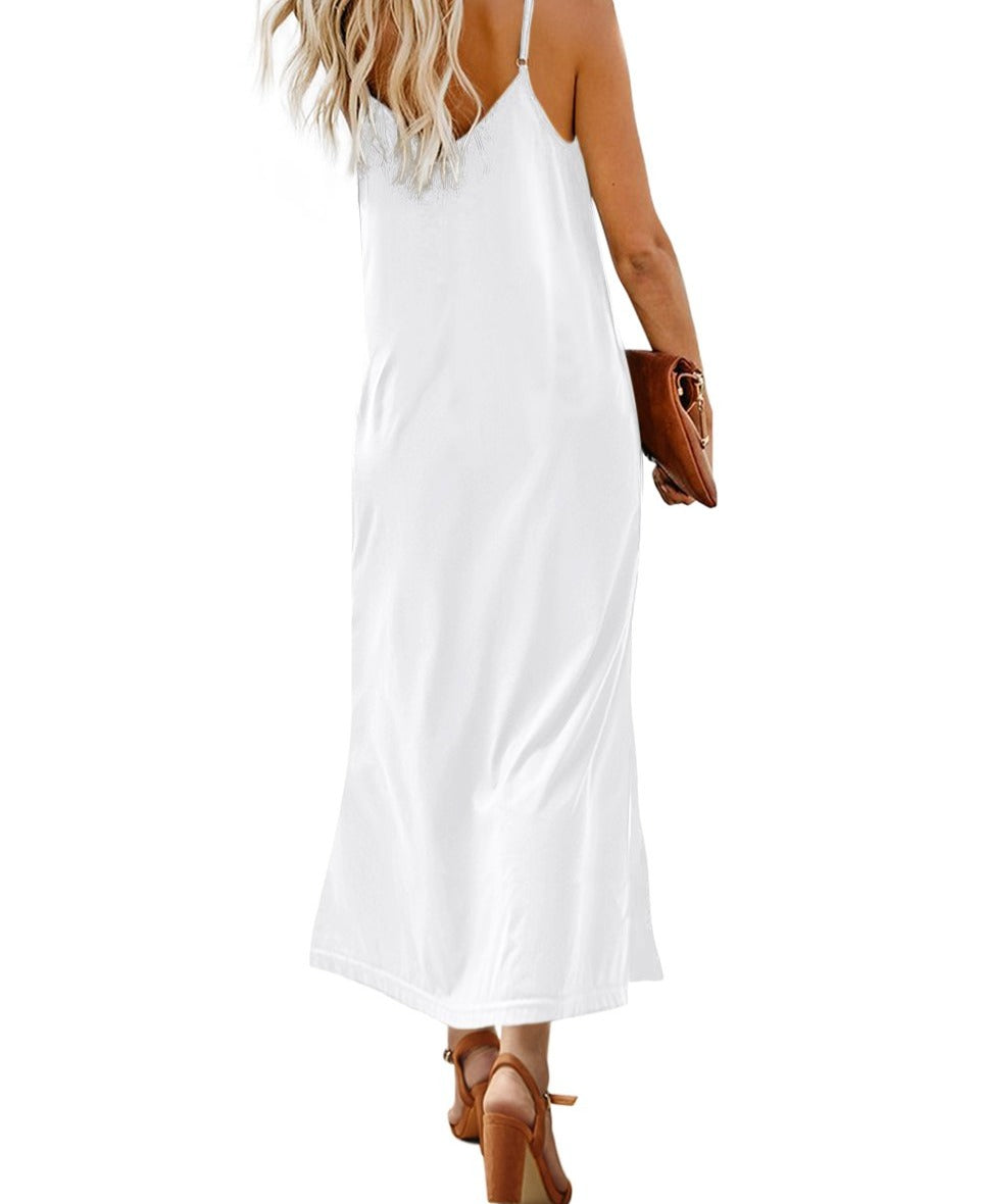 White Button Slip Long Dress