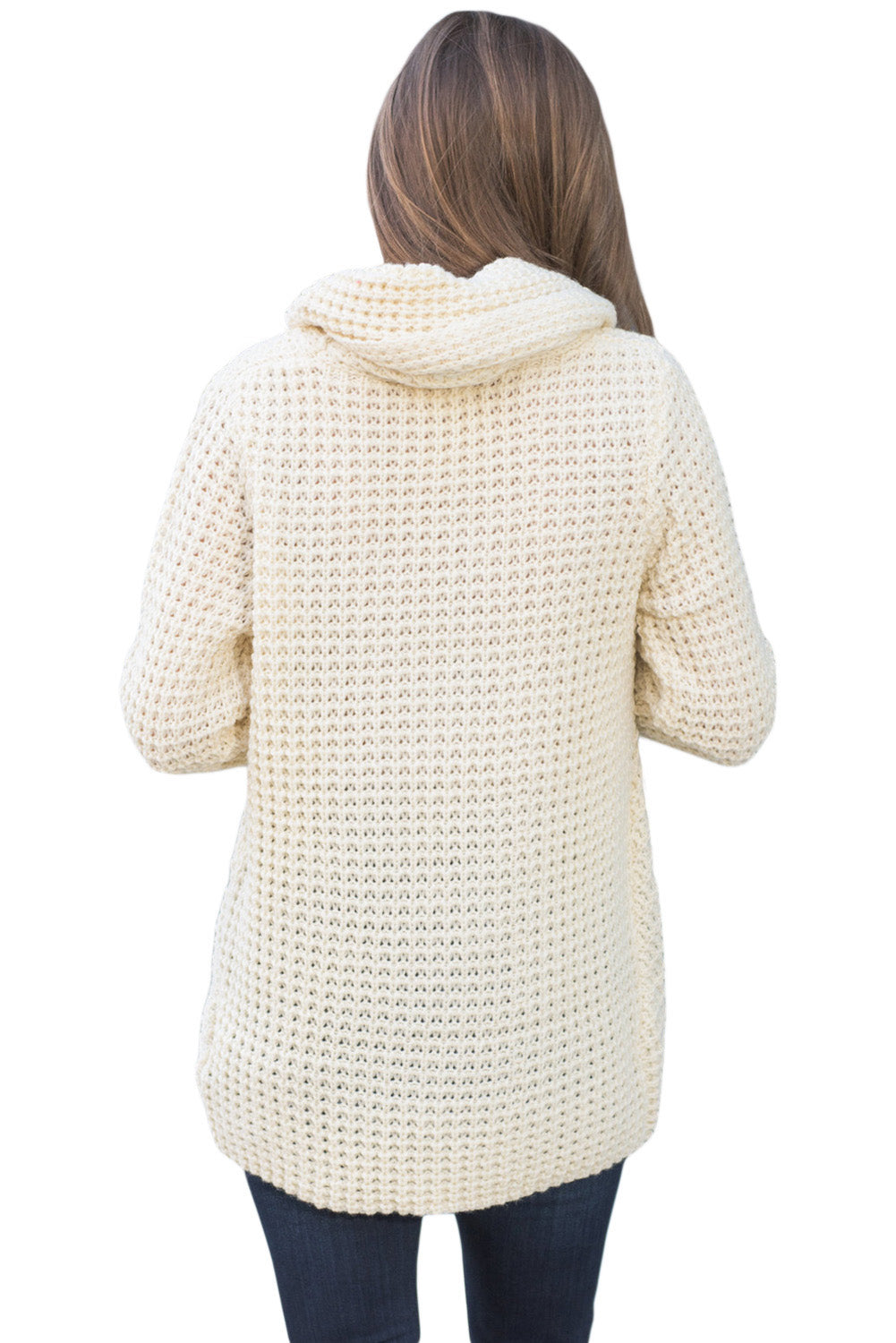 White Buttoned Wrap Cowl Neck Sweater
