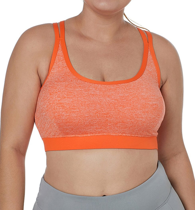 Orange Double Straps Heathered Sports Bra