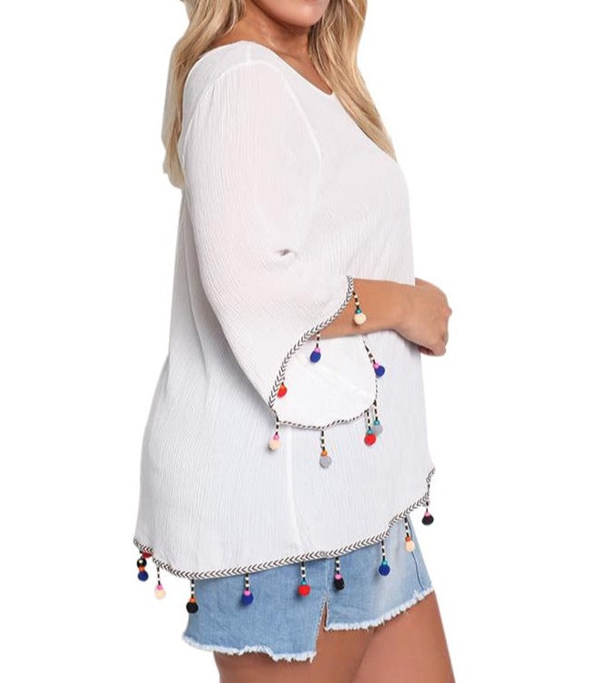 White Plus Size Crepe Pom Pom Cross Strap Blouse