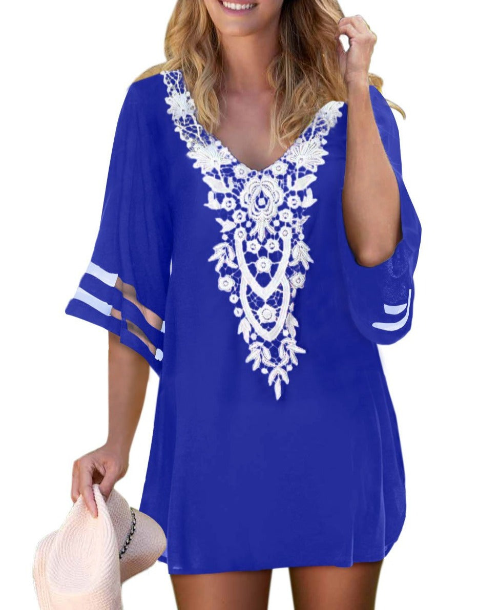 Blue Crochet Detail Mesh Sleeve Chiffon Beach Cover Up